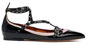 Valentino Garavani Love Latch Matte And Patent-leather Point-toe Flats