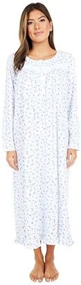Eileen West Cotton Peached Jersey Long Sleeve Ballet Nightgown (White Ground Blue Multi Floral) Women's Pajama