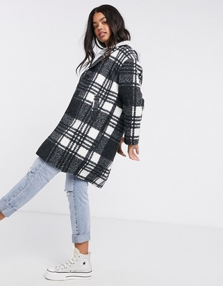Pimkie textured coat in black and white check