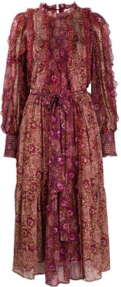Ulla Johnson Claret pleated patchwork dress