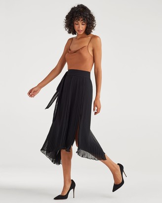 7 For All Mankind Pleated Double Slit Wrap Skirt in Jet Black