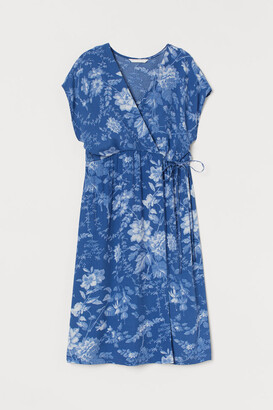 H&M MAMA Creped Wrap-front Dress - Blue