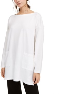 Eileen Fisher Boat-Neck Pocket Tunic Top