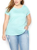Penningtons Womens Plus Size Shaped Fit T-Shirt with Lace