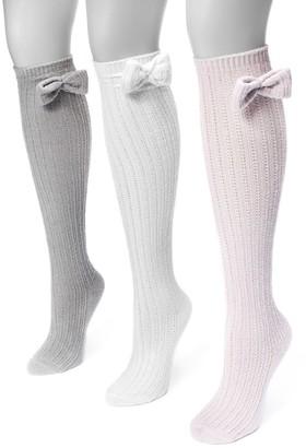 Muk Luks Women's 3-pk. Bow Pointelle Knee-High Socks