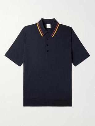 Paul Smith Stripe-Trimmed Merino Wool Polo Shirt