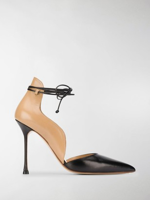 Francesco Russo Pointed Tie-Fastened Pumps