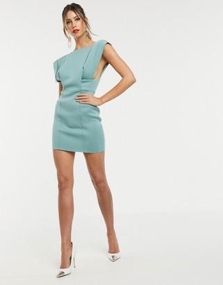 Asos Design DESIGN square neck mini dress with fold sleeve