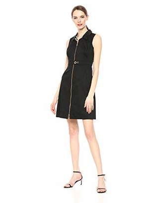 Calvin Klein Women's Sleeveless Collared Sheath with Zip Front Dress
