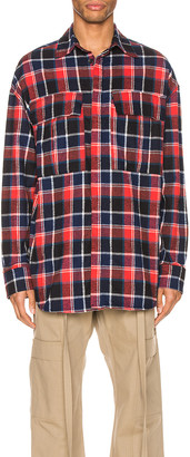 Fear Of God Long Sleeve Plaid Button Up in Red & Navy Plaid | FWRD