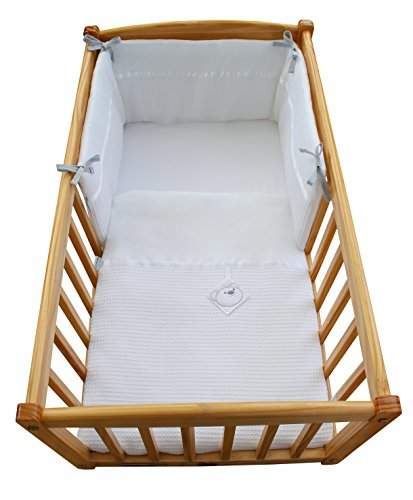 Clair De Lune Waffle Crib/Cradle Quilt & Bumper Set with Bear Tag - White