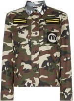 Miu Miu contrast collar patch embroidered military jacket