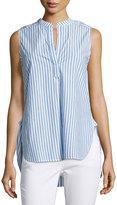 Joan Vass Mandarin-Collar V-Neck Striped Tank, White/Blue