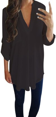 Lazzboy Women Ladies Chiffon V Neck Long Sleeve Solid Pockets T Shirt Blouse Tops(XL
