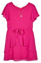 Amy Byer Flutter Sleeve Spring Dress With Necklace (Big Girls)