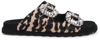 Roger Vivier Viv Crystal Buckle Leopard Slide Sandals