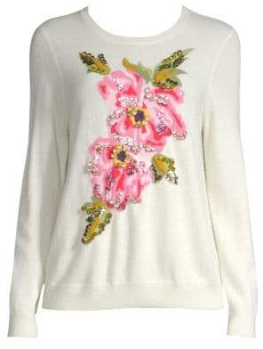 Escada Slowana Floral Virgin Wool& Cashmere Intersia Sweater