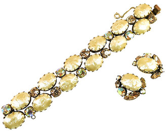 One Kings Lane Vintage Recency Baroque Pearl Bracelet Set - Neil Zevnik - gold/cream/amber