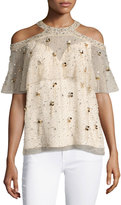 Elie Tahari Genevieve Embellished Silk Popover Blouse, Nude