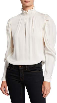 Kobi Halperin Anderson Long-Sleeve Stretch Silk Turtleneck Blouse