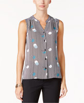 Nine West Printed V-Neck Button-Front Blouse