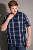 Yours Clothing BadRhino Navy & White Check Short Sleeve Cotton Shirt