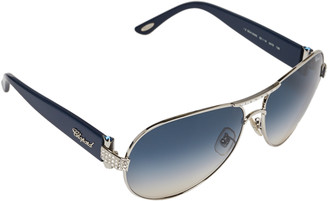 Chopard Crystal Embellished Silver Tone/ Blue Gradient SCH 866s Aviator Sunglasses
