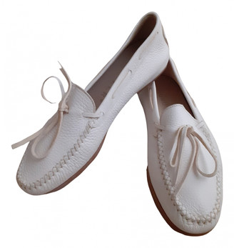 Unützer White Leather Flats
