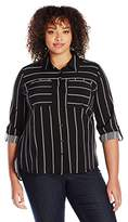 Notations Women's Plus Size 3/4 Sleeve Stripe Print Hi Low Tunic Utility Blouse