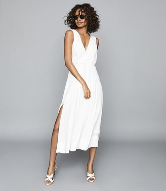 Reiss MARCELLA SPLIT FRONT BEACH DRESS White