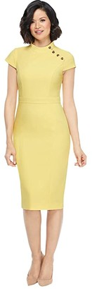 Maggy London Mandarin Collar Sheath Dress (Lemon Zest) Women's Dress