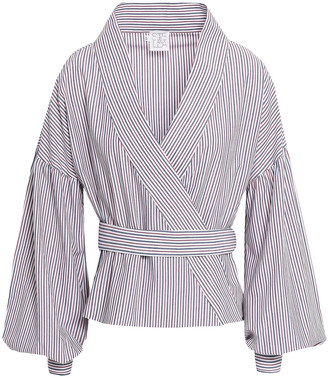 Stella Jean Striped Cotton-poplin Wrap Top