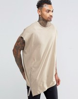 Asos Super Oversized Heavyweight Sleeveless T-shirt With Asymmetric Zip In Stone
