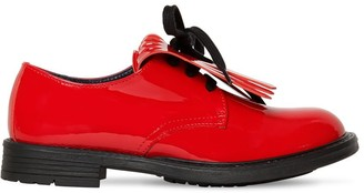 Marni Junior Patent Leather Lace-Up Shoes W/ Fringe