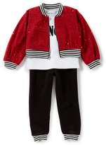 Bonnie Jean Little Girls 4-6X Spangle-Knit Jacket, Long-Sleeve Tee & French Terry Pant Set