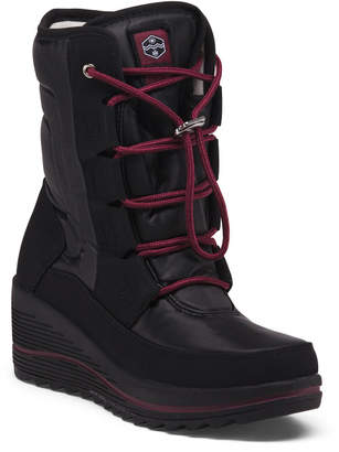 Waterproof Lace Up Wedge Winter Boots
