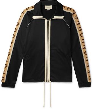 Gucci Logo-Jacquard Webbing-Trimmed Tech-Jersey Track Jacket