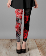 Lily Black & Red Floral Leggings - Plus Too