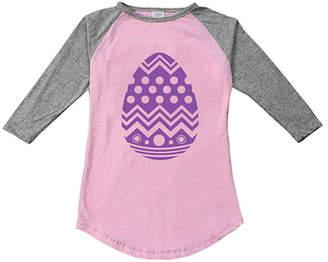 Urban Smalls Girls' Tee Shirts Lt - Light Pink & Heather Gray Giant Egg Fitted Raglan Tee - Toddler & Girls