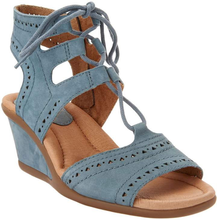741232d00d4 Leather Lace-up Peep-Toe Wedge Sandals - Daffodil