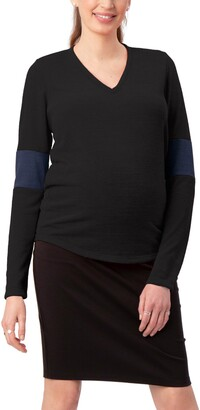 Stowaway Collection Contrast Elbow Maternity Sweater