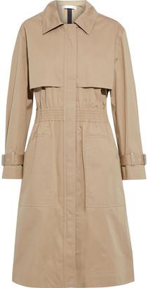 Victoria Beckham Shirred Waxed Cotton-blend Gabardine Trench Coat