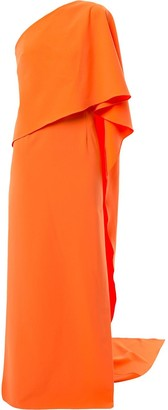 Carolina Herrera One-Shoulder Flutter Dress