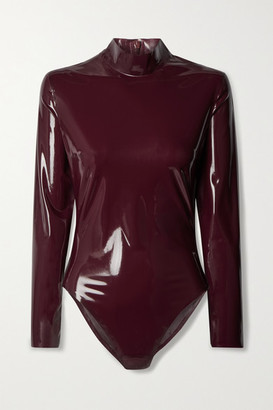 Saint Laurent Latex Bodysuit - Burgundy