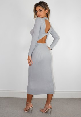 Missguided Grey Twist Open Back Knit Midaxi Dress