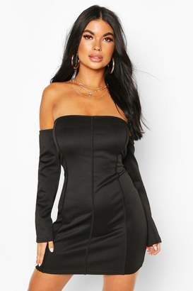 boohoo Petite Off Shoulder Bodycon Dress