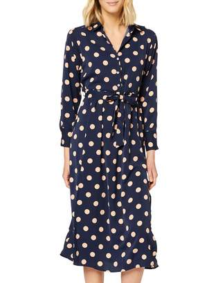 Yumi Women's Polka Dot Midi Shirt Dress Casual