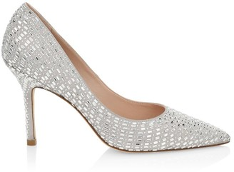Stuart Weitzman Ryanne Embellished Leather Pumps