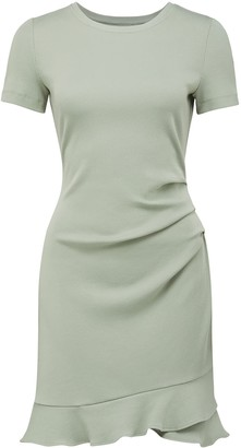 Forever New Annie Rib Short-Sleeve Frill Dress - Khaki - 10