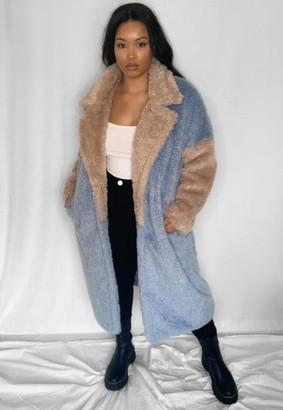 Missguided Size Blue Colourblock Long Faux Fur Coat